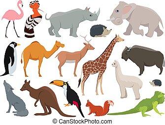 Schöne wilde Tiere im Zeichentrickfilm. Vector Illustration isoliert auf weiß