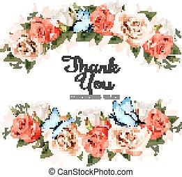 Schönen Dank Sie Grußkarte mit Rosen und Schmetterlingen. Vector.