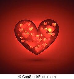 Schönes Herz im roten Hintergrund.