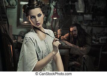 Schönes Kunstfoto von einer schönen Frau und der Bestie