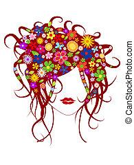 Schönes Mädchen mit Blumen im Haar