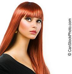 Schönes Mädchen mit gesunden langen, glatten Haaren