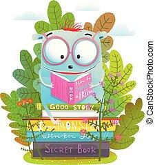 Schönes Monster in Brillenleserbuch