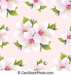 Schönes, nahtloses Muster mit Blumen sakura