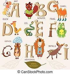 Schönes Tier-Alphabet. A, b, c, d, e, f, g, h, i Buchstaben. Ameisen, Biber, Kamel, Ente, Aal, Frosch, Gopher, Hipala. Alphabet-Design im Retro-Stil.