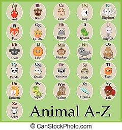 Schönes Tier-Alphabet. Komischer Zeichentrickfilm. A, B, C, D, E, F, G, H, I, J, K, L, M, N, O, P, Q, R, S, T, U, V, W, X, Y, Z Buchstaben