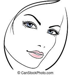 Schönheitsmädchen, Vektor Ikone