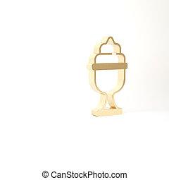 schüssel, weißes, symbol., eis, 3d, gold, abbildung, creme, hintergrund., freigestellt, lieb, ikone, render