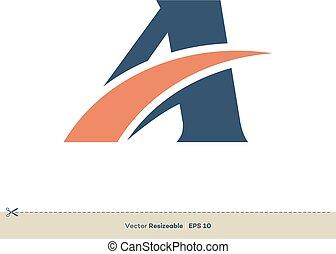 schablone, brief, design, logo, swoosh, abbildung
