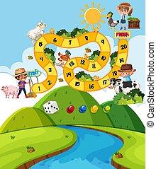 schablone, kinder, bauernhof, design, boardgame