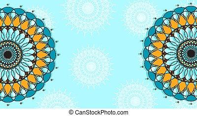 schablone, muster, mandala, blaues, design, hintergrund