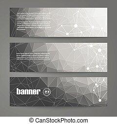 schablonen, grafik, weißes, banner, satz, schwarz, design, geometrisch, style.