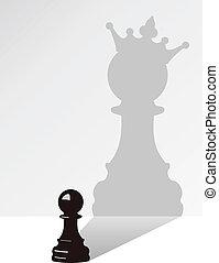 Schachfigur mit Schatten.