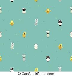 Schafe, Hühner und Kaninchen.