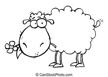 Schafe mit Blumen im Mund