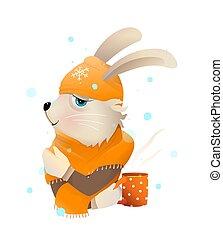 schal, teetrinken, oder, kanninchen, hut, tragen, kaninchen