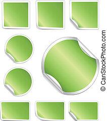schale, umrandungen, aufkleber, weißes, grün