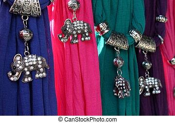 schals, schmuck, gefärbt, elefant