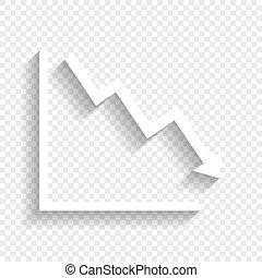schatten, pfeil, zeigen, ausstellung, abwärts, hintergrund., vector., crisis., weißes, weich, durchsichtig, ikone
