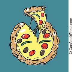 scheibe, bedeckt, karikatur, vektor, pizza, kã¤se