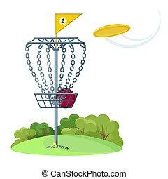 scheibe, gelber , fliegendes, golfen, korb, scheibe, frisbee
