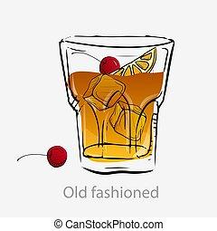 scheibe, würfel, altes , cherries., cocktail, gestaltet, eis, orange, cocktail.