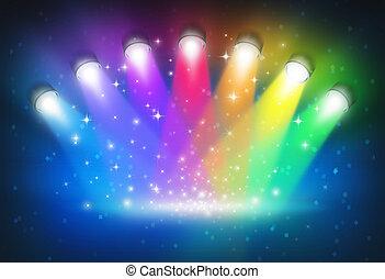 Scheinwerfer mit Regenbogenfarben