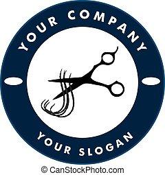 Schere schneidet Haarsträhne, Haarsonnen-Logo