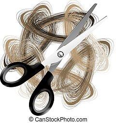 Schere und Haare