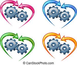Schere und Pfeile in Form eines Herzens.