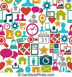schichten, eps10, vernetzung, bunte, heiligenbilder, medien, leicht, organisiert, seamless, hintergrund., editing., vektor, datei, sozial, muster