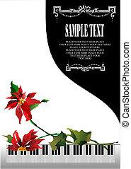 Schicke Grußkarte mit weißem Klavier und Blumen
