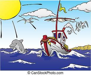 schiff, fische, delfin, abgang
