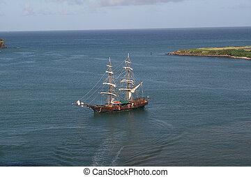 schiff, reproduktion, karibisch, pirat