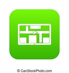 schifffahrt, gps, digital, grün, ikone