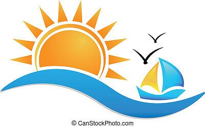 Schiffs-Sonne und See-Icon-Logo.