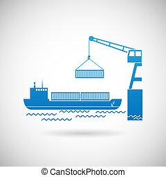 Schiffssymbol Versand Icon Design Vorlage Vektor Illustration.