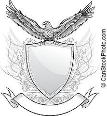 Schild mit Adler Emblem.