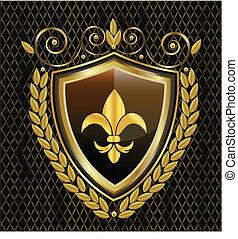 Schild und fleur de lis emblem Logo.