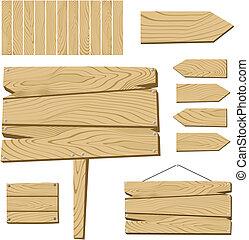 Schild und Holzobjekte.