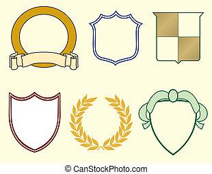 Schilde und Lorbeeren für Logos