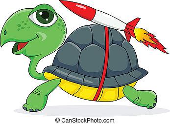 Schildkröte mit einer Rakete