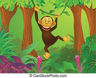 Schimpanse im Dschungel