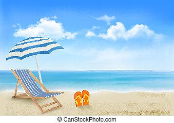 schirm, begriff, sommer, flip-flops., strand, urlaub, hintergrund., vector., paar, stuhl, sandstrand, ansicht