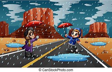 schirm, besitz, regnen, glücklich, kinder