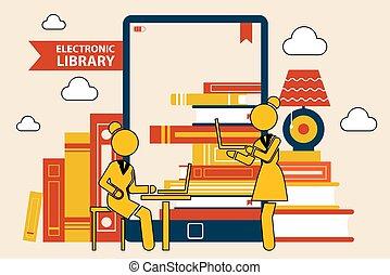 schirm, buecher, e-book., tablette, stapel, bildung, concept., buchausleihe, online