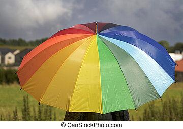 schirm, bunte, regen, dunkel, person, warten, unter, wolkenhimmel