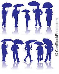 schirm, silhouetten, vektor, kind, mann, frauen