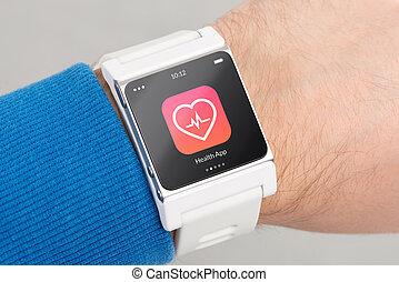 schirm, uhr, auf, gesundheit, schließen, weißes, app, klug, ikone