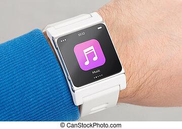 schirm, uhr, auf, musik, schließen, weißes, app, klug, ikone